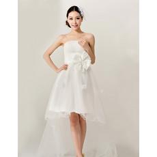 Newest High-Low Satin Organza Strapless A-Line Dresses for Summer Beach Wedding