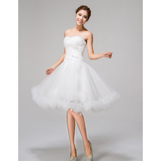 Romantic A-Line Sweetheart Knee Length Tulle Beach Wedding Dresses with Ruffles Hem