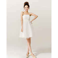 Discount Empire Strapless Satin Organza Short Beach Wedding Dresses