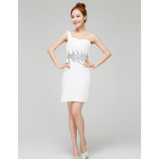 Special Column/ Sheath One Shoulder Pleated Chiffon Short Dresses for Summer Wedding