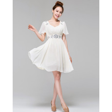 Discount Short Sleeves Chiffon A-Line Sweetheart Short Beach Wedding Dresses