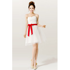 Chic A-Line Sweetheart Short/ Mini Satin Organza Beach Wedding Dresses with Sashes