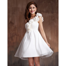 New Style A-line One Shoulder Chiffon Empire Short Beach Wedding Dresses