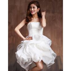 Stylish Ball Gown Bubble Skirt Strapless Satin Short Beach Wedding Dresses