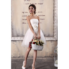 Mordern Satin Organza Strapless A-Line Short Beach Wedding Dresses