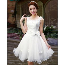Prettyy A-Line Round/ Scoop Organza Satin Short Reception Wedding Dresses for Summer