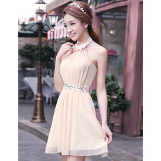 Nice Halter Chiffon A-Line Short Beach Wedding Dresses for Summer