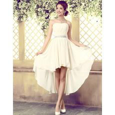 Elegant High-Low Chiffon Sheath Strapless Beach Wedding Dresses