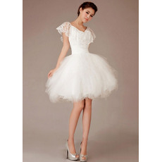 Special A-Line V-Neck Satin Organza Short/ Mini Beach Wedding Dresses for Summer