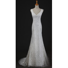 Alluring V-Neck Mermaid Long Length Spring Lace Wedding Dresses with Shimmering Crystal Detailing