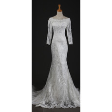 Vintage Mermaid Court Train White Lace Wedding Dresses with Long Illusion Sleeves