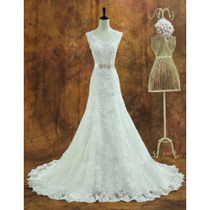 Romantic A-Line V-neck Long Length Lace Wedding Dresses with Crystal Beaded Belt