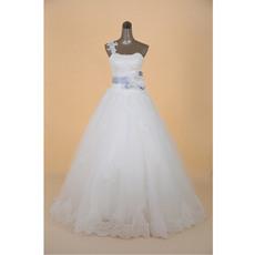 Romantic One Shoulder A-Line Floor Length Satin Wedding Dresses