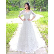 Discount Lace Sleeves Floor Length A-Line V-Neck Wedding Dresses