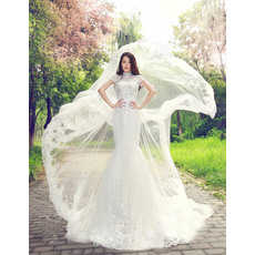 Inexpensive Mandarin Collar Floor Length Lace Organza A-Line Wedding Dresses