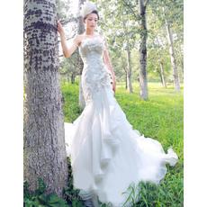 Sexy Mermaid Floor Length Strapless Satin Dresses for Spring Wedding