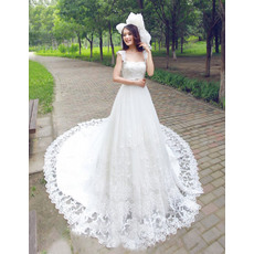 Alluring Court Train Wide Straps A-Line Lace Appliques Tulle Wedding Dresses