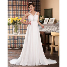 Formal A-line Chiffon V-Neck Empire Floor Length Dresses for Spring Wedding