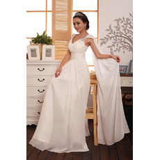 Attrative Chiffon Straps Floor Length A-Line Wedding Dresses
