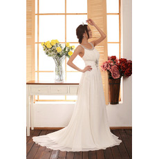 Perfect and Elegant Beaded Scoop Neck Sweep Train Chiffon Wedding Dresses