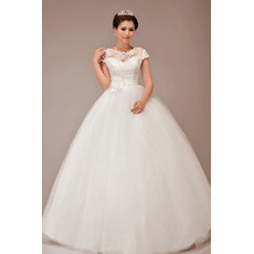 Discount Short Sleeves Ball Gown Floor Length Lace Satin Wedding Dresses