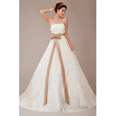Gorgeous Crystal Strapless Full Length Floral Lace Wedding Dresses with Belt
