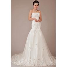 Gorgeous Crystal Beading Mermaid Court Train Satin Tulle Wedding Dresses