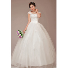 Classic Cap Sleeves Square Ball Gown Floor Length Wedding Dresses