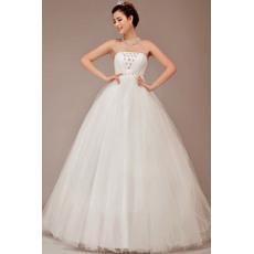 Romantic Strapless Ball Gown Floor Length Organza Satin Wedding Dresses for Spring Wedding