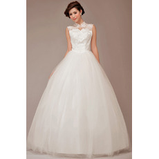 Custom Mandarin Collar Satin Lace Ball Gown Long Wedding Dresses