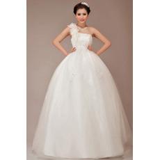 Elegant One Shoulder Ball Gown Floor Length Satin Organza Wedding Dresses