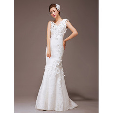 Discount Mermaid/ Trumpet Round/ Scoop Lace Floor Length Wedding Dresses