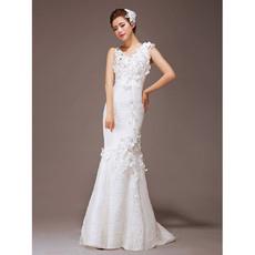 Discount Mermaid/ Trumpet Round/ Scoop Lace Floor Length Wedding Dresses
