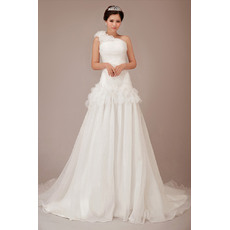 Elegant One Shoulder Chiffon Floor Length A-Line Wedding Dresses for Spring