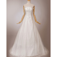 Graceful A-Line Strapless Sweep Train Lace Wedding Dresses with Beading Appliques Bodice