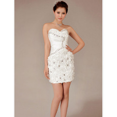 Chic Sheath Sweetheart Short Satin Beach Wedding Dresses