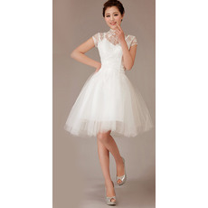 Perfect High-Neck Short Sleeves Short Reception Tulle Wedding Dresses with Lace Bodice