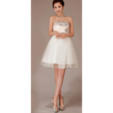 Discount A-Line Strapless Satin Organza Short Beach Wedding Dresses