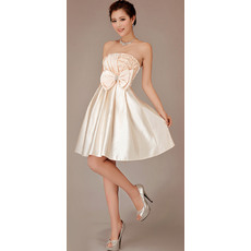 Nice A-line Strapless Satin Short Reception Empire Wedding Dresses