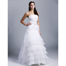 Modern and Romantic Strapless Pleated Bodice Full Length Organza Wedding Dresses with Crystal Detail