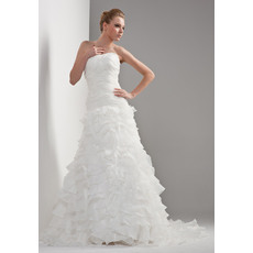 Gorgeous Tiered A-Line Strapless Floor Length Satin Organza Dresses for Spring Wedding