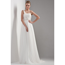 Elegnat One Shoulder Chiffon Satin Floor Length Empire Wedding Dresses