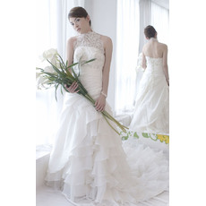 Classic Halter A-Line Floor Length Satin Lace Tiered Wedding Dresses