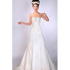 Fabulous A-Line Sweetheart Floor Length Satin Empire Wedding Dresses for Spring