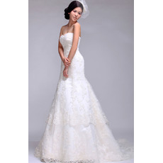 Inexpensive Lace Sweetheart A-Line Floor Length Empire Wedding Dresses for Spring