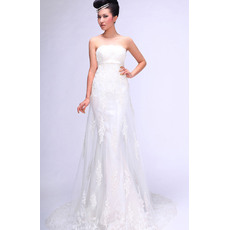 Elegant Beading Appliques Empire Sheath Strapless Sweep Train Satin Tulle Wedding Dresses