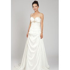 Exquisite Beaded Spaghetti Straps Court Train Satin Wedding Dresses with Pleated Detail