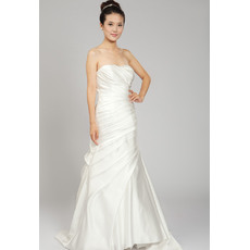 Pretty A-Line Strapless Floor Length Satin Wedding Dresses for Spring