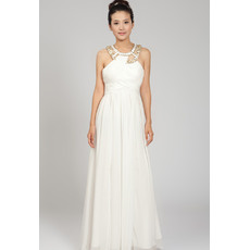 Affordable Sheath Round Chiffon Beaded Floor Length Wedding Dresses