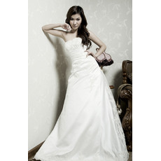 Discount A-Line Strapless Beaded Applique Satin Wedding Dresses with Asymmetrical Waistline